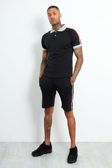 Black Contrast Polo T-Shirt and Short Set