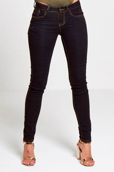 Plus Size Black Contrast Stitch Pocket Detail Skinny Jeans