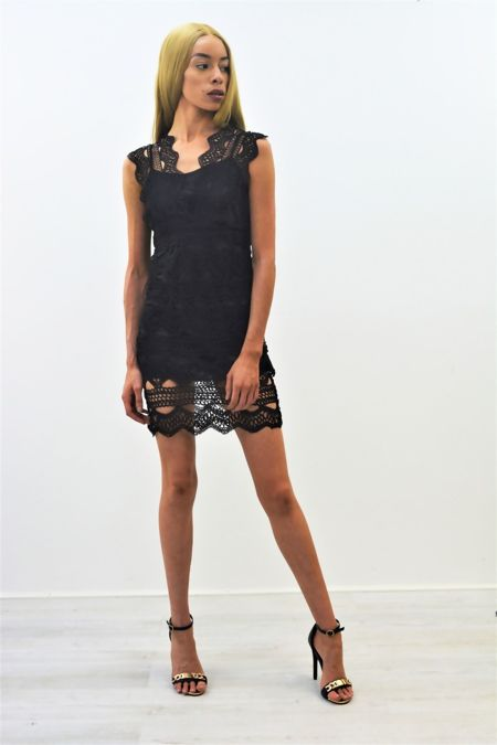 Black Crochet Overlay Mini Dress