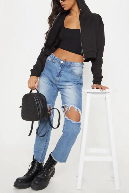 Black Crop Zip Hoodie