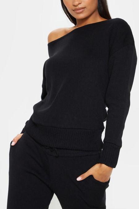 Black Cuffed Hem Knitted Jumper