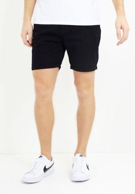 Black Denim Turn Up Shorts