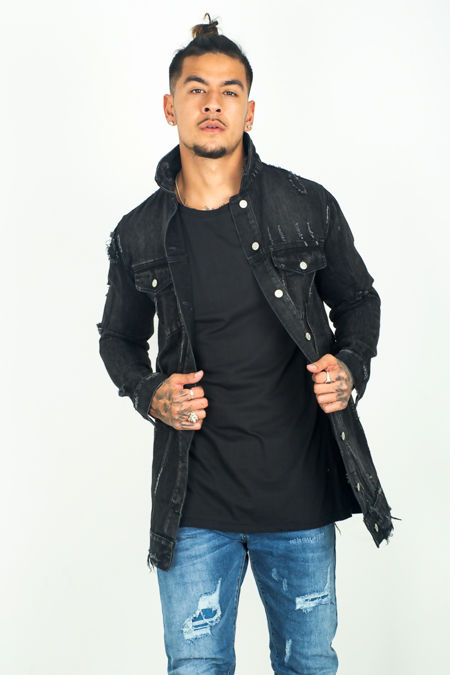 Black Distressed Long Line Denim Jacket