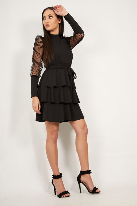 Black Dobby Puffed Tiered Dress