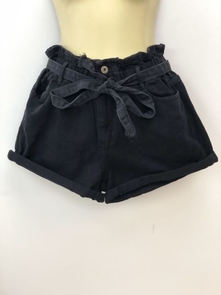Black Elasticated Waist Belted Shorts