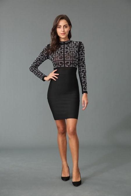 Black Embellished Mesh Bodycon Dress