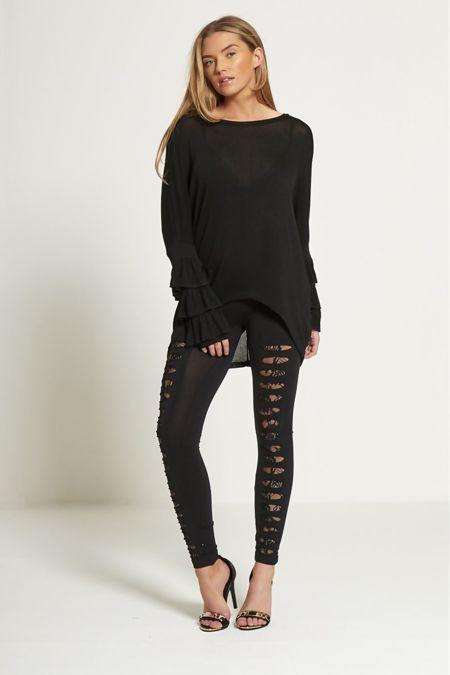 Black Extreme Ripped Lace Mesh Underlay Leggings