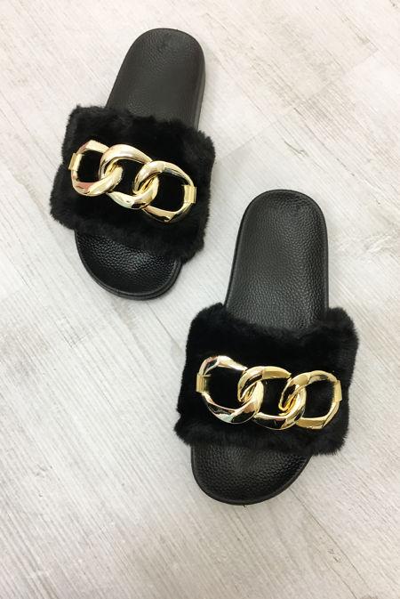 Black Faux Fur Chain Slider