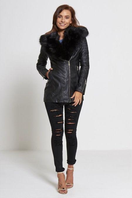 Grey Faux Fur Collar Black Leather Jacket