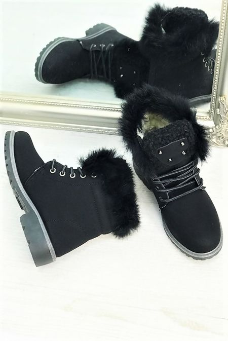 Black Faux Fur Stud Boots