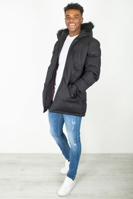 Black Faux Fur Trim Padded Hood Parka