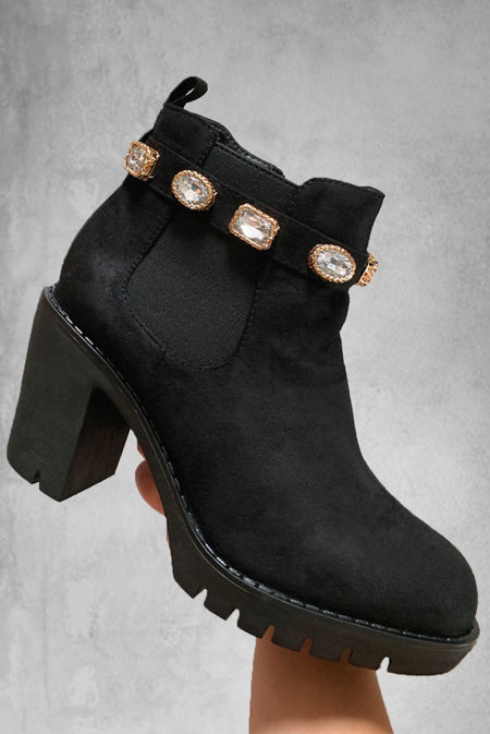 Black Faux Suede Ankle Boots With Diamante Belt
