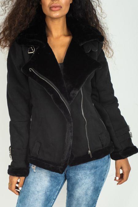 Black Faux Suede Aviator Jacket