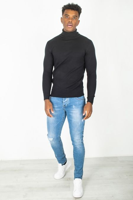 Black Fine Knit Polo Neck Jumper