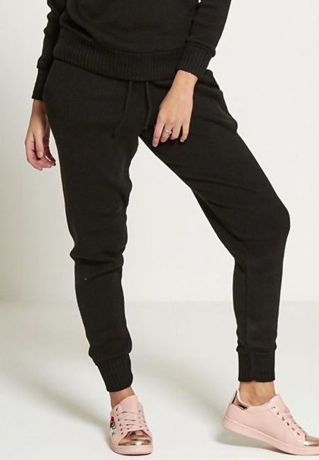 Black Fine Knitted Loungewear Bottom
