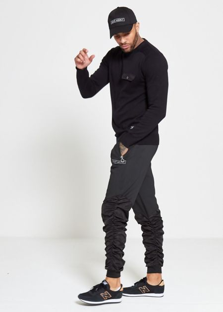 Black Flap Pocket Fine Knit Jumper