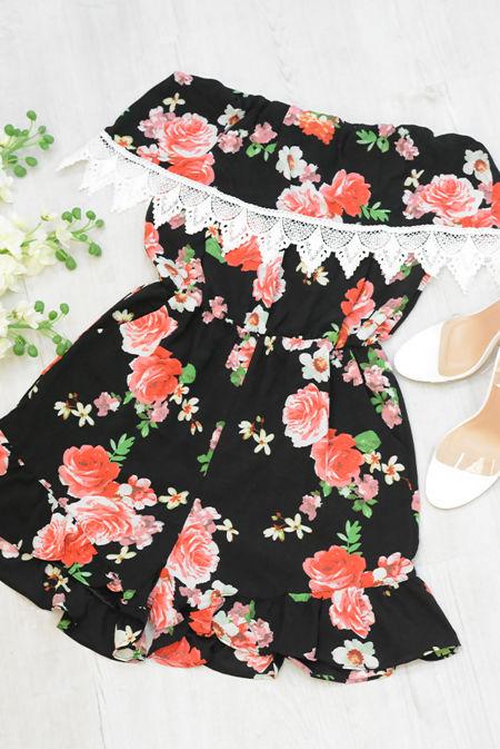 Black Floral Crochet Trim Bandeau Playsuit