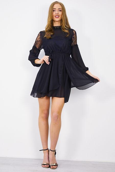 Black Flounce Lace Shift Dress