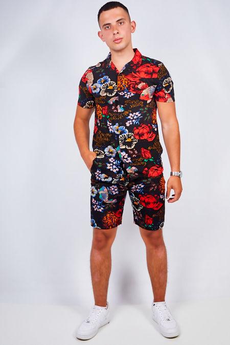 Black Flower Print Shirt and Swim Short Set