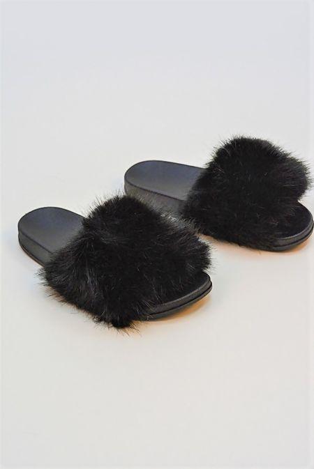 Black Fluffy Fur Sliders