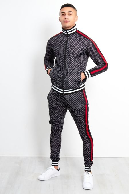 Black Funnel Stripe Skinny Fit Tracksuit