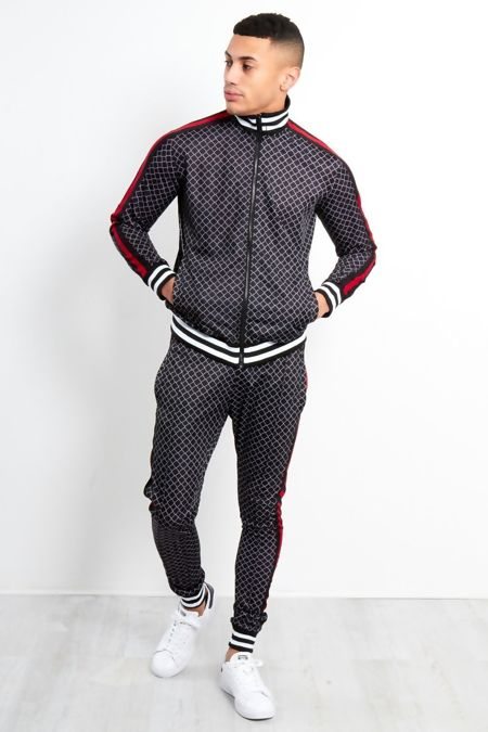 Black Funnel Stripe Zip Up Skinny Fit Tracksuit