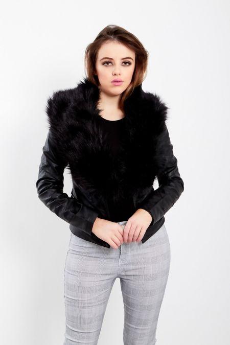 Black Fur Line Biker Jacket