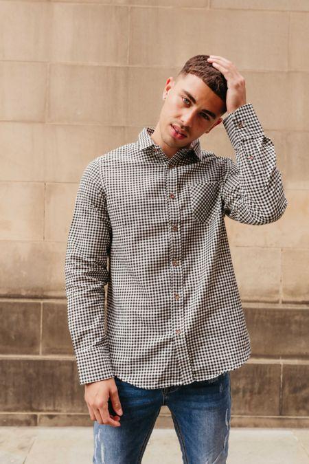 Black Gingham Long Sleeve Collar Shirt