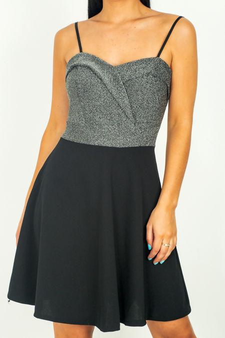 Black Glitter Bardot Dress