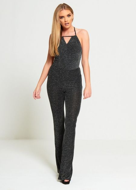 Black Glitter Halter Neck Jumpsuit