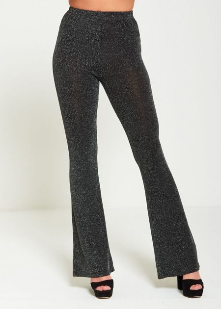 Black Glitter Wide Leg Trouser