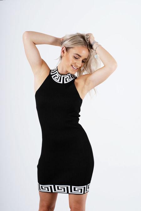 Black Greek Key Ribbed Bodycon Dress