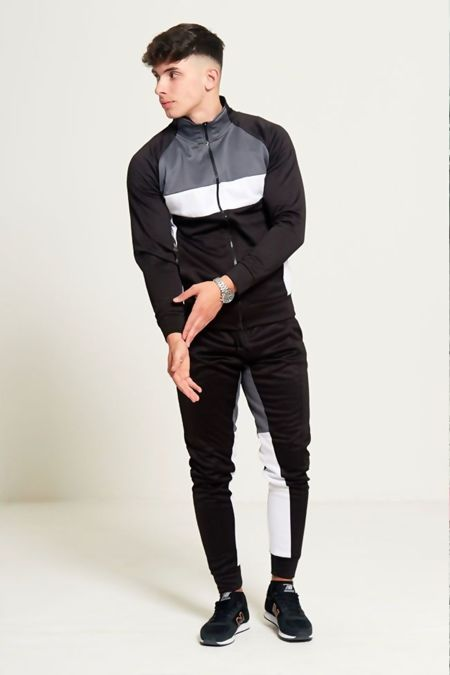 Black Grey And White Zip Through Collared Tracksuit