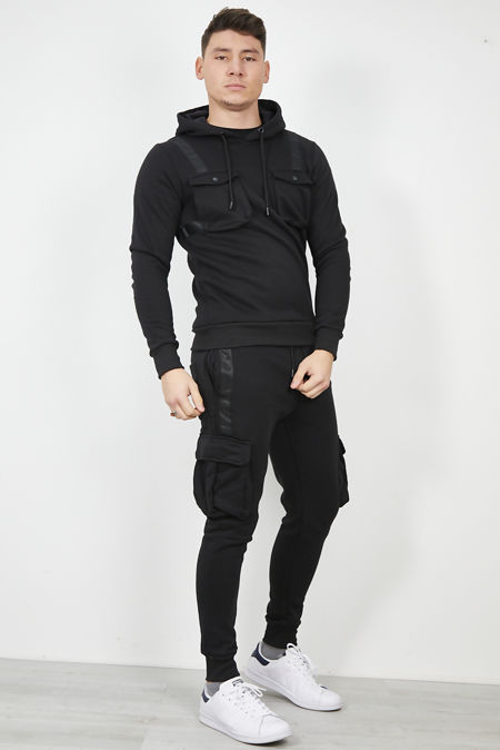 Black Heather Skinny Fit Tracksuit