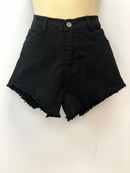 Black High Waist Frayed Hem Denim Shorts