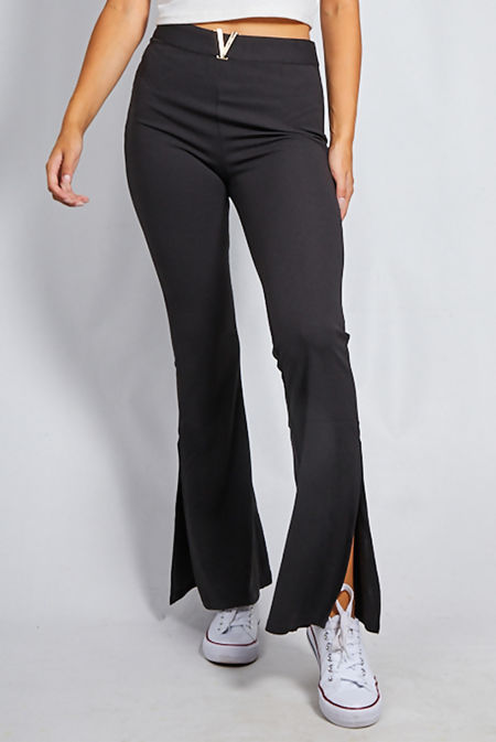 Black High Waist Split Hem Flare Leg Trouser