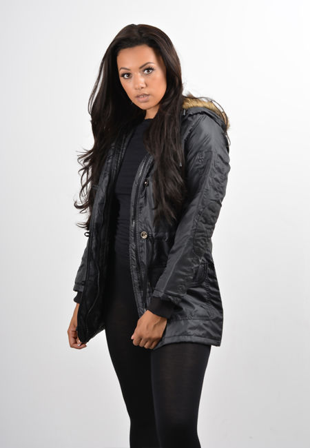 Black Inner Quilted Hooded Jacket