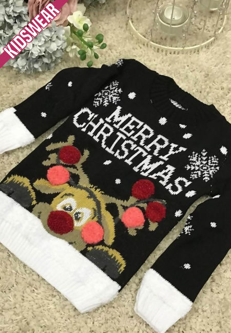 Black Kids Merry Christmas Knitted Jumper