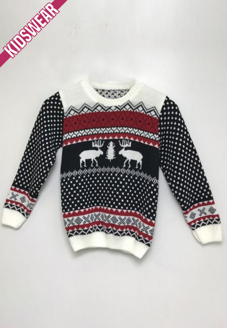 Black Kids Reindeer Patterned Christmas Jumper