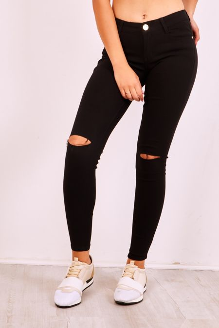Black Knee Ripped Jegging Jeans