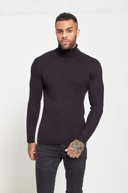 Black Knitted Roll Neck Jumper