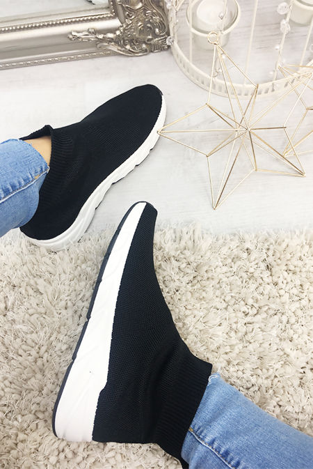 Black Knitted Slip On Sock Trainers