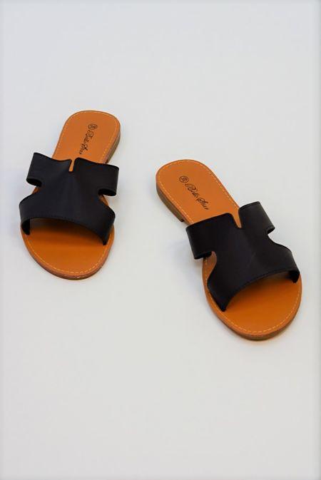 Black Leather Flat Slip On Slider