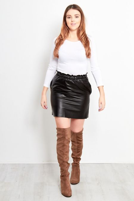 Black Leather Puff Skirt