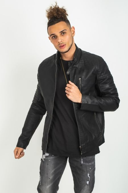 Black Leather Ribbed  Biker Jacket