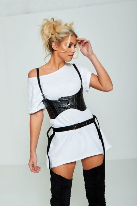 Black Leather Strapy Wide Corset Belt
