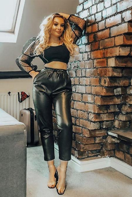 Black Leather Zip Up Polka Crop Top