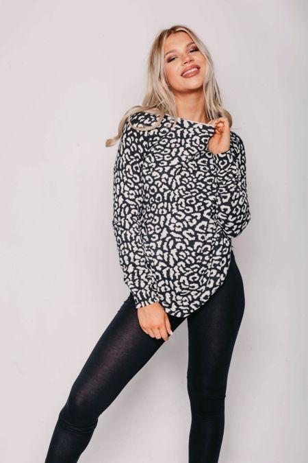 Black Leopard Print Long Sleeve Top