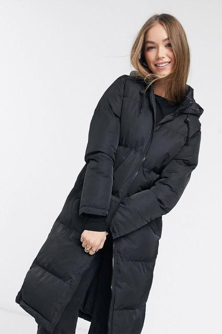 Black Longline Hooded Puffer Coat