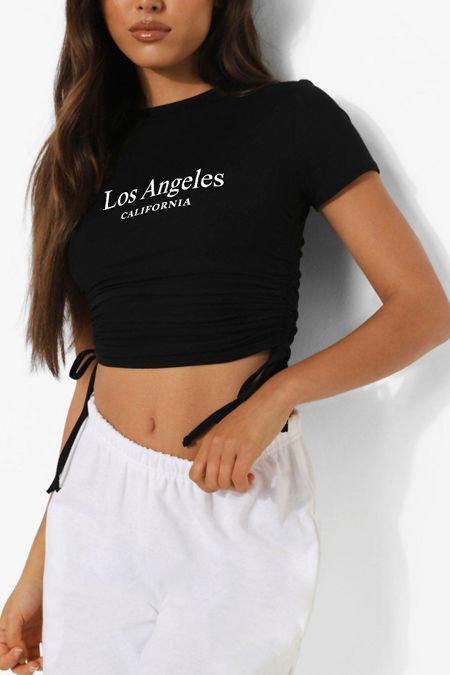 Black Los Angeles Ruched Side Crop T-Shirt